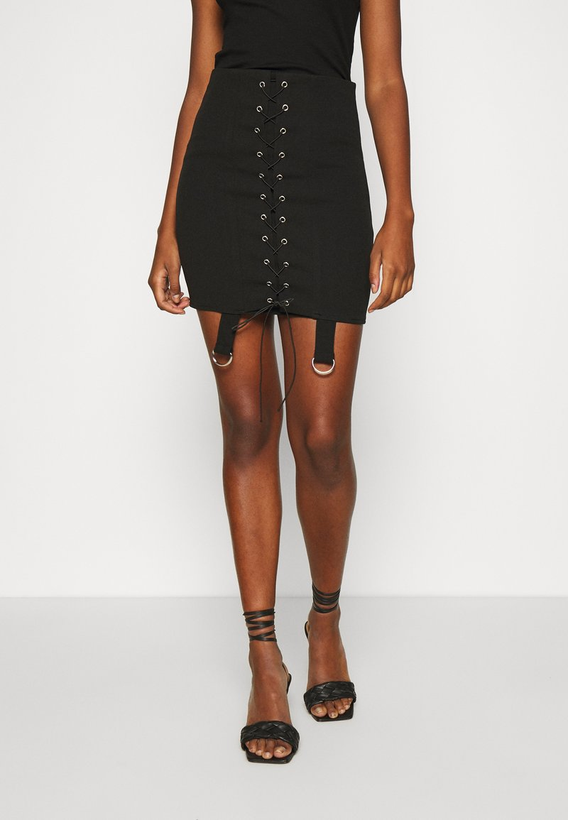 Missguided - LACE UP STRAP DETAIL SKIRT - Minifalda - black