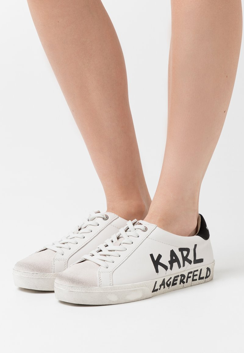 KARL LAGERFELD - SKOOL BRUSH LOGO LACE - Sneakersy niskie - white