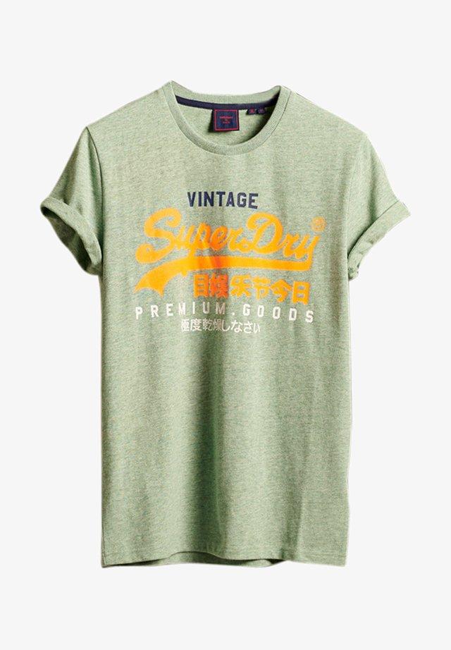 Print T-shirt - smoke green marl
