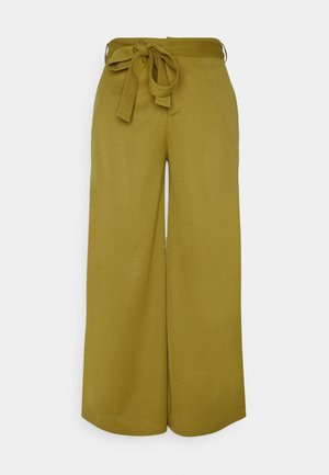 BELTED WIDE LEG TROUSERS  - Trousers - green
