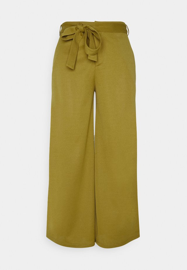 BELTED WIDE LEG TROUSERS  - Broek - green