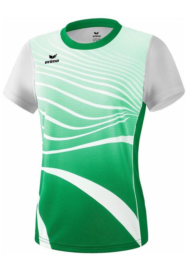 T-SHIRT DAMEN - Print T-shirt - smaragd / weiß