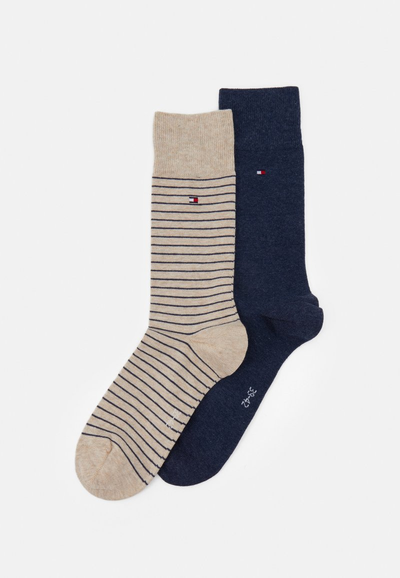 Tommy Hilfiger - MEN SMALL STRIPE SOCK 2 PACK - Chaussettes - beige/blue