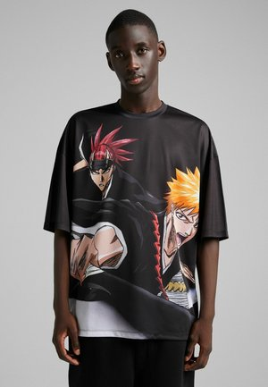 KURZEN ÄRMELN EXTRA LOOSE MIT BLEACH-LOOK - T-shirt z nadrukiem - black