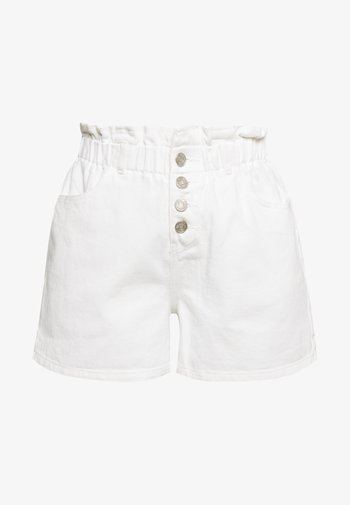 PLEAT WAIST BAND HIGHWAISTED - Shorts di jeans - white