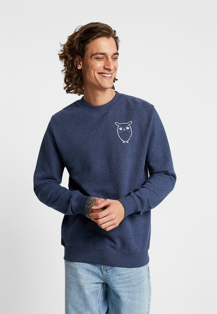 Knowledge Cotton Apparel - WITH OWL CHEST LOGO - Mikina - insigna blue melange