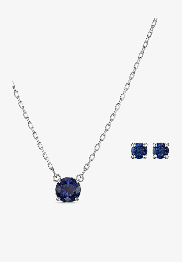 ATTRACT ROUND SET, BLUE, RHODIUM PLATED - Boucles d'oreilles - silber