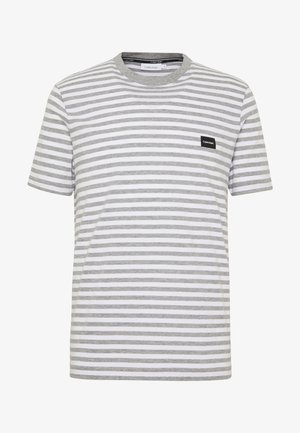 STRIPE CHEST LOGO  - T-shirt med print - white/grey