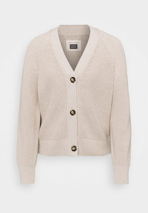 CARDIGAN LONGSLEEVE V NECK BUTTON CLOSURE - Cardigan - beige