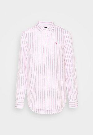 STRIPE LONG SLEEVE - Button-down blouse - white/pink