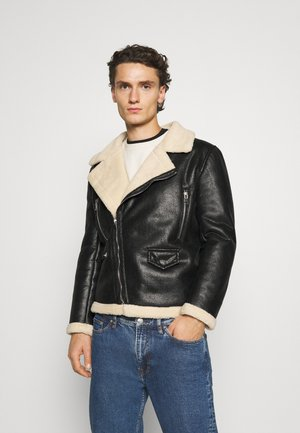 AVIATOR JACKET - Imitatieleren jas - black