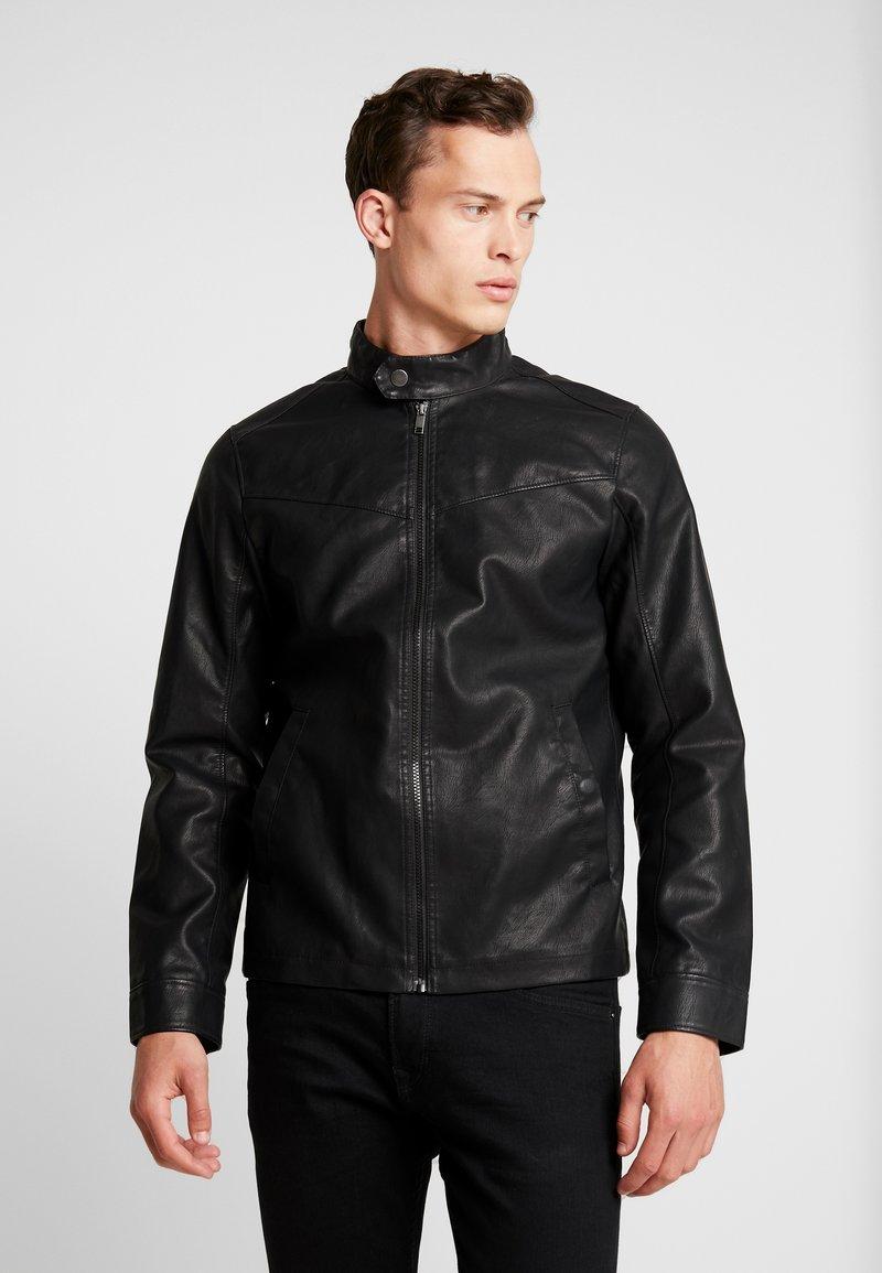 TOM TAILOR DENIM - BIKER - Faux leather jacket - black