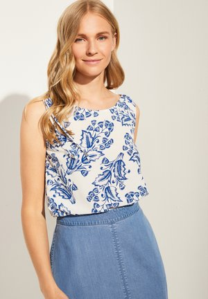 Blouse - white two tone flowers