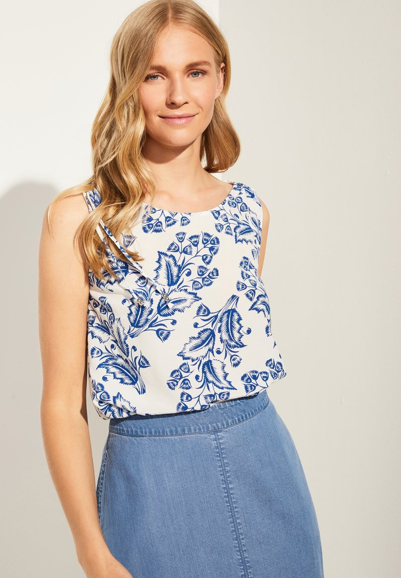 comma - Blouse - white two tone flowers