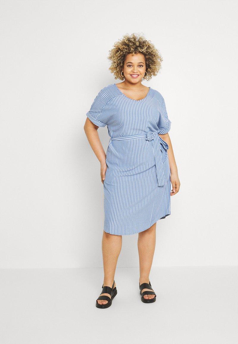ONLY Carmakoma - CARBLUE DRESS - Day dress - colony blue/white