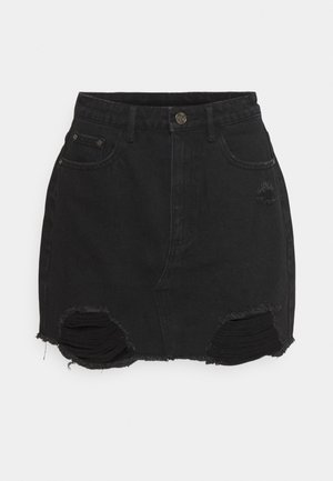 RIPPED  SKIRT - Denim skirt - black