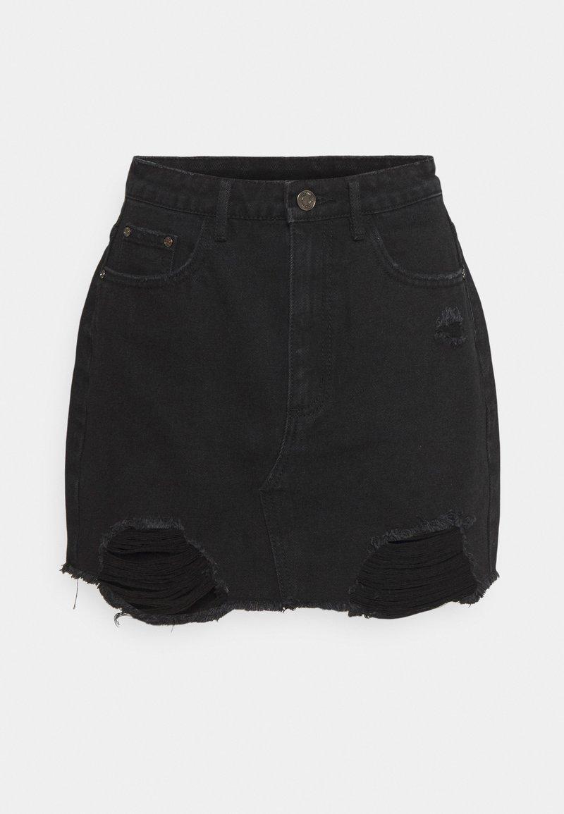 Missguided Petite - RIPPED  SKIRT - Denim skirt - black