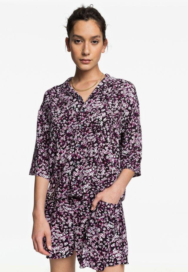 Button-down blouse - raspberry r sunday garden