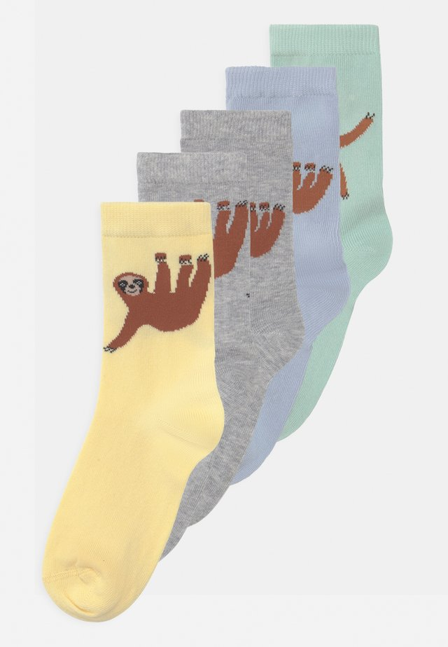 SLOTH 5 PACK UNISEX - Socks - light dusty turquoise