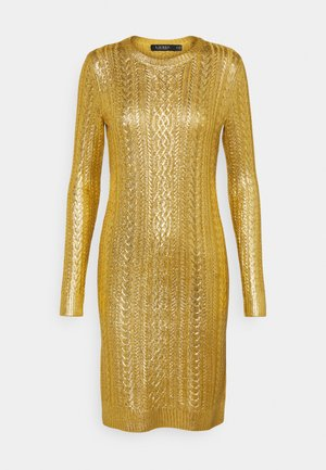 BRIGHT DRESS - Vestido de tubo - shiny gold
