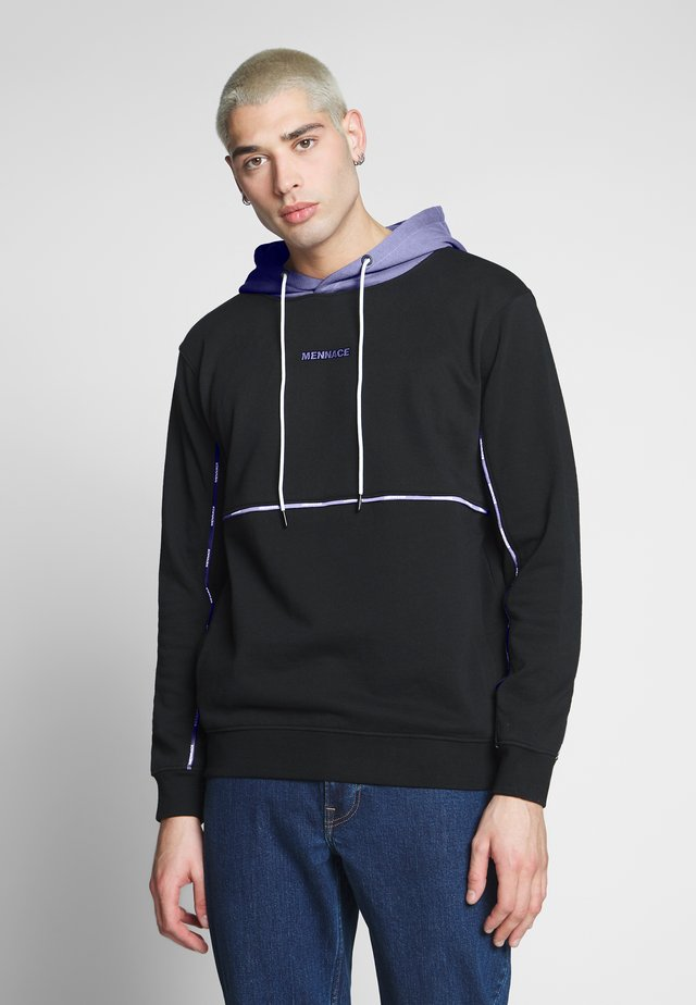 UNISEX BRANDED PIPING HOODIE - Huppari - black