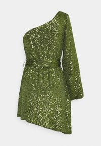 Glamorous - ASYMMETRICAL SEQUIN MINI DRESS WITH ONE LONG SLEEVE AND TIE DETA - Cocktailkjole - green - 1