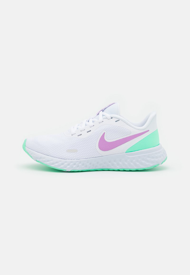 Nike Performance - REVOLUTION 5 - Neutral running shoes - white/violet shock/green glow/football grey