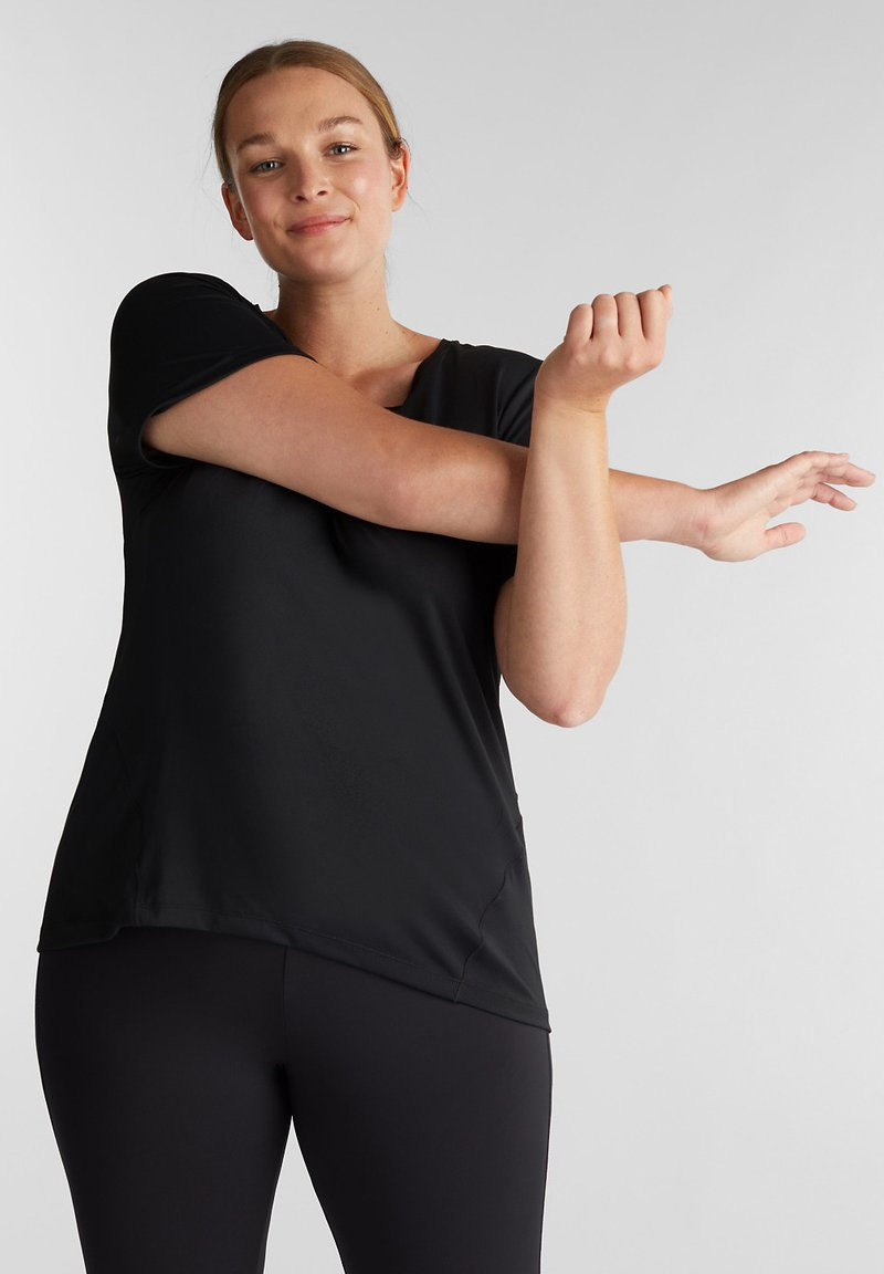 Esprit Sports - CURVY  - Print T-shirt - black