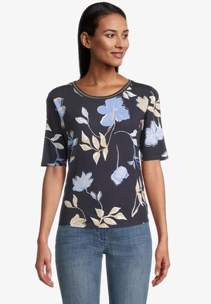 Print T-shirt - dark blue beige