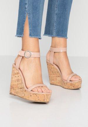 OLA - Sandály na vysokém podpatku - oatmeal