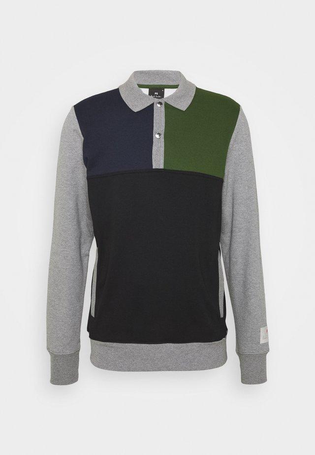 HALF PLACKET  - Felpa - grey/black/green
