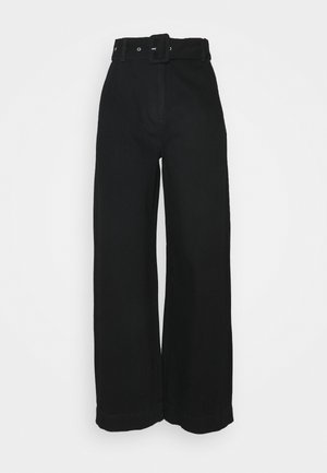 SLFWILLOW PANT - Flared Jeans - black denim