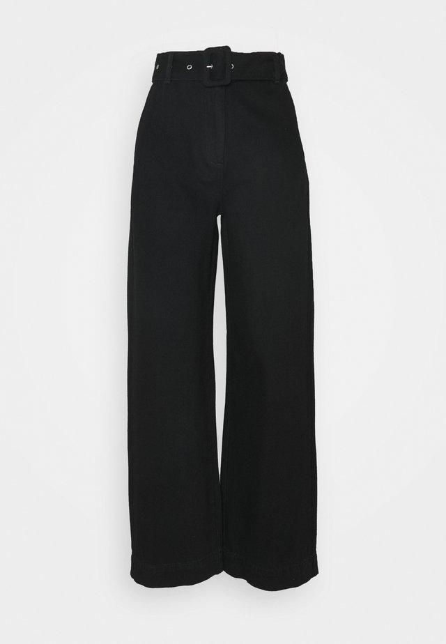 SLFWILLOW PANT - Flared Jeans - black denim