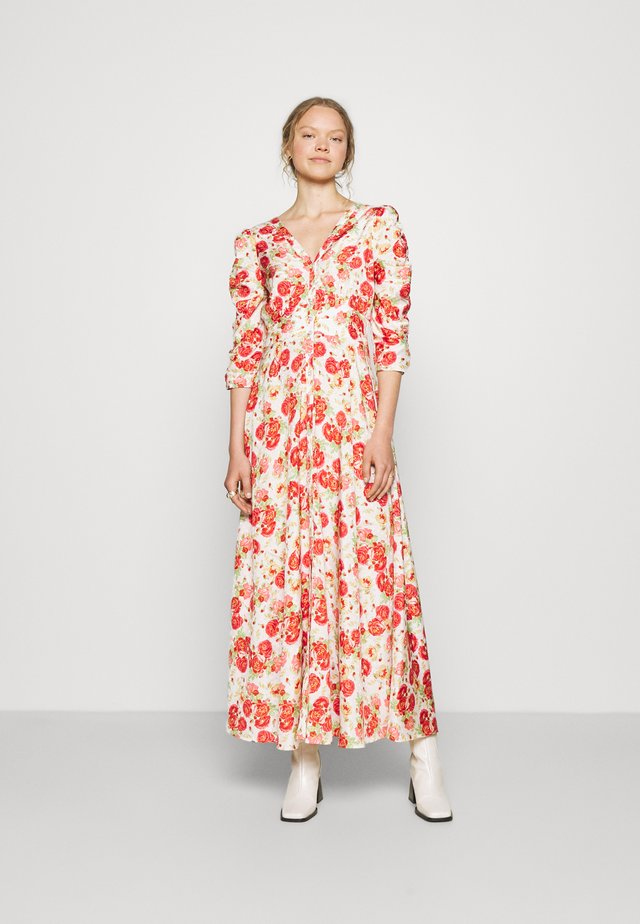 DELICATE ROUCHING DRESS - Vestito lungo - red