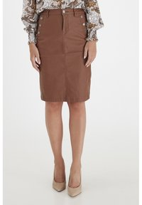 Fransa - FRNOTALIN - A-line skirt - dark camel - 0