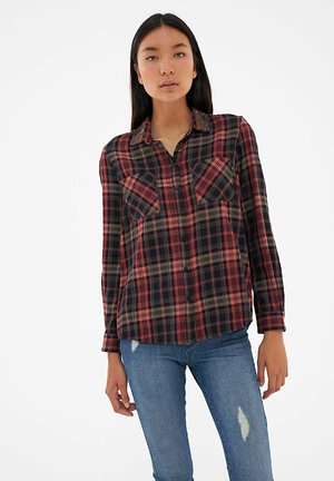 WITH BEADED COLLAR - Button-down blouse - noir