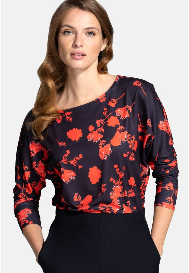 Bluser - black and red flower
