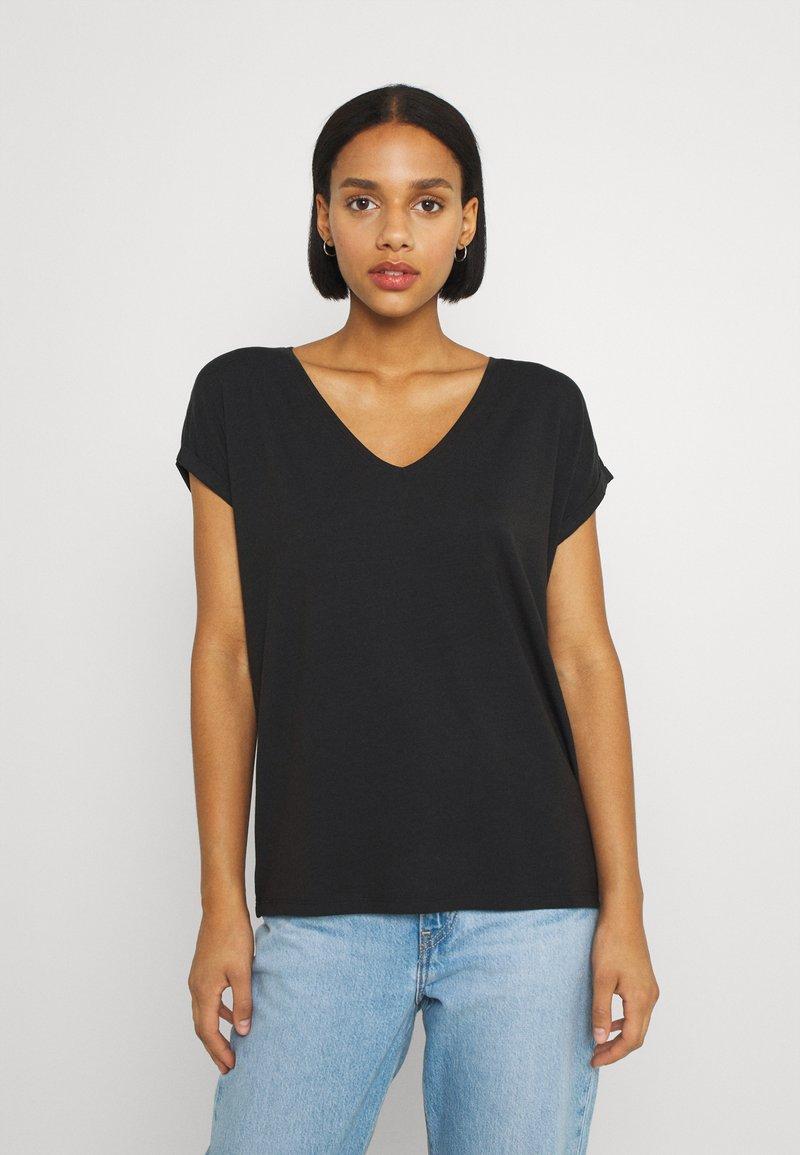 Vero Moda - VMAVA VNECK TEE  - Basic T-shirt - black