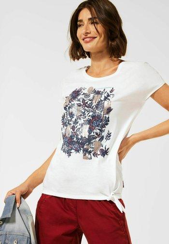 MIT SCHLEIFEN DETAIL - Print T-shirt - weiß