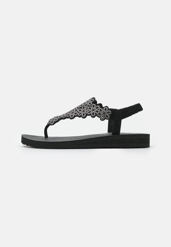 MEDITATION - T-bar sandals - black/silver