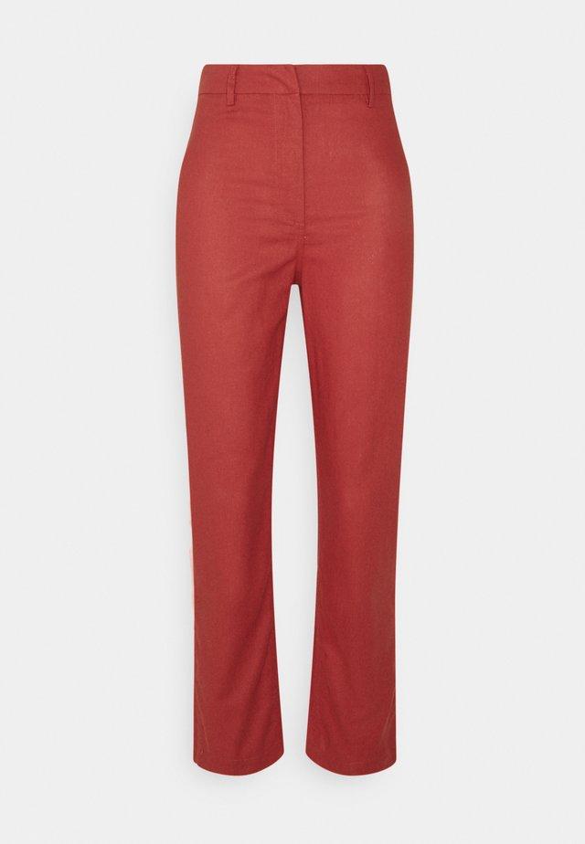 STRAIGHT LEG HIGH WAIST - Trousers - red