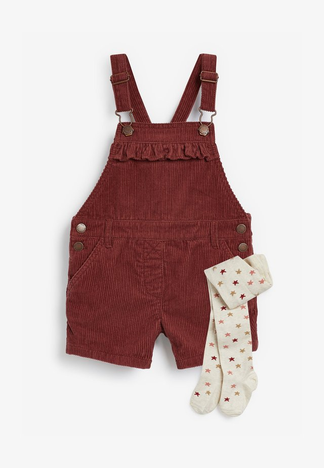 DUNGAREES AND TIGHTS SET - Overall /Buksedragter - red