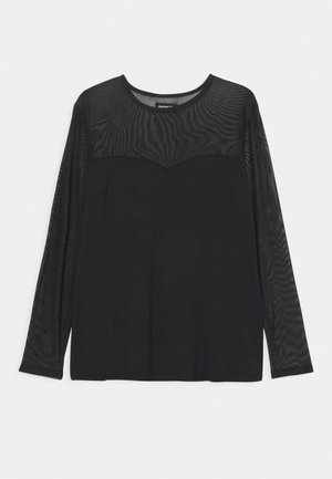 MESH INSERT TOP - Long sleeved top - black