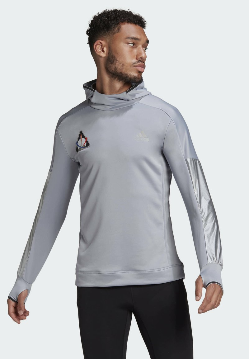 adidas Performance - SPACE PRIMEGREEN SWEATSHIRT HOODIE RUNNING - Hoodie - grey