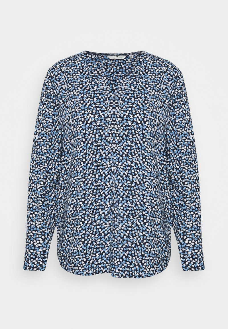 TOM TAILOR - BLOUSE PRINTED WITH TAPE - Blouse - navy blue