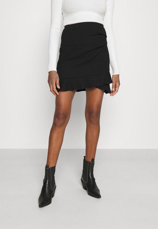 LUCY FRILL SKIRT - Minisukně - black