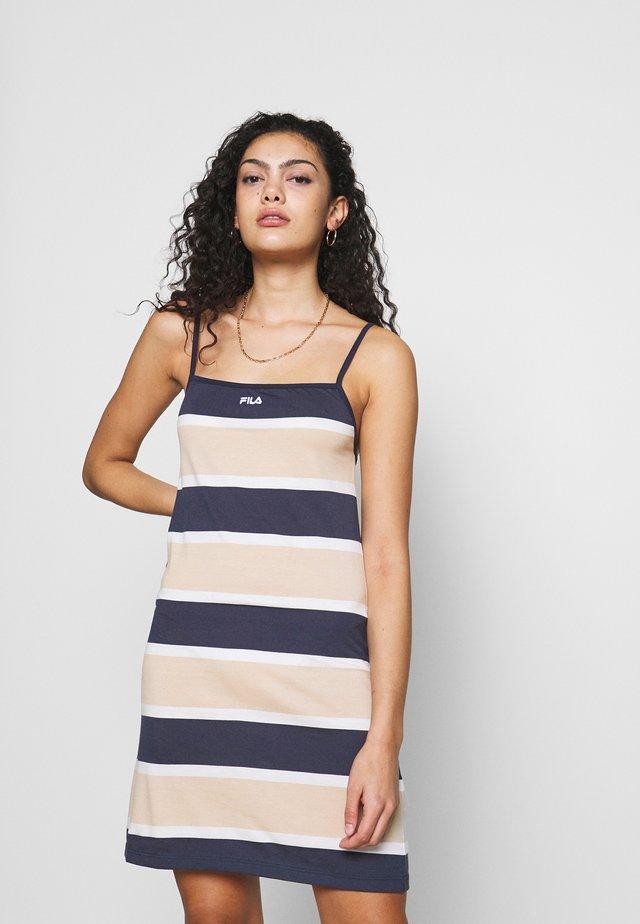MARIKO - Jersey dress - oxford tan/black iris/bright white