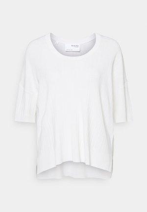 SLFWILMA UNECK - Basic T-shirt - snow white