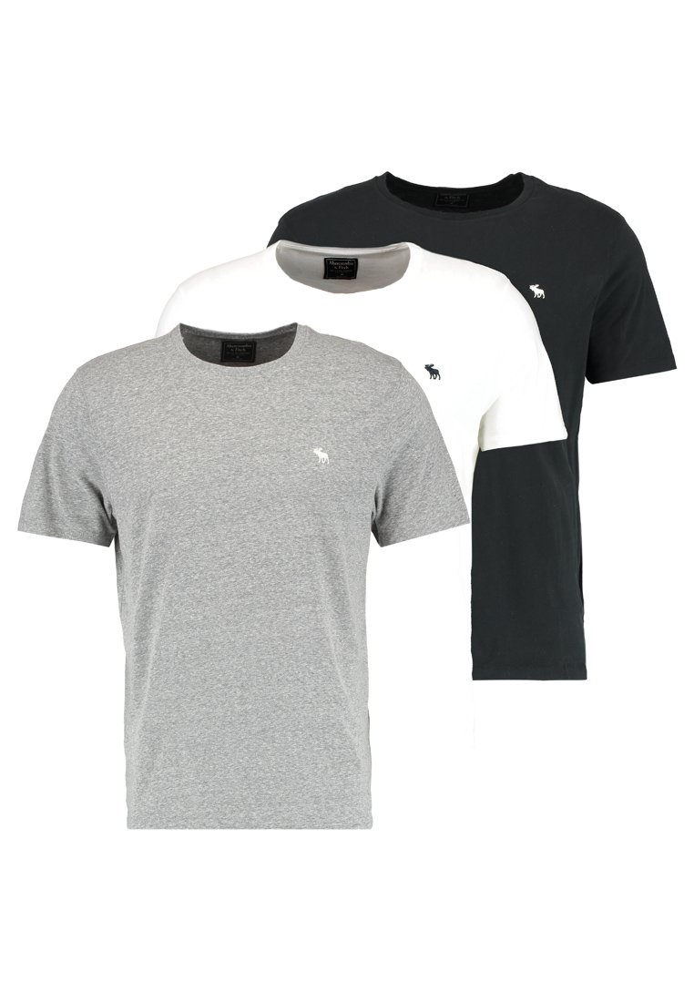 Abercrombie & Fitch 3 PACK T shirts whitegreyblack