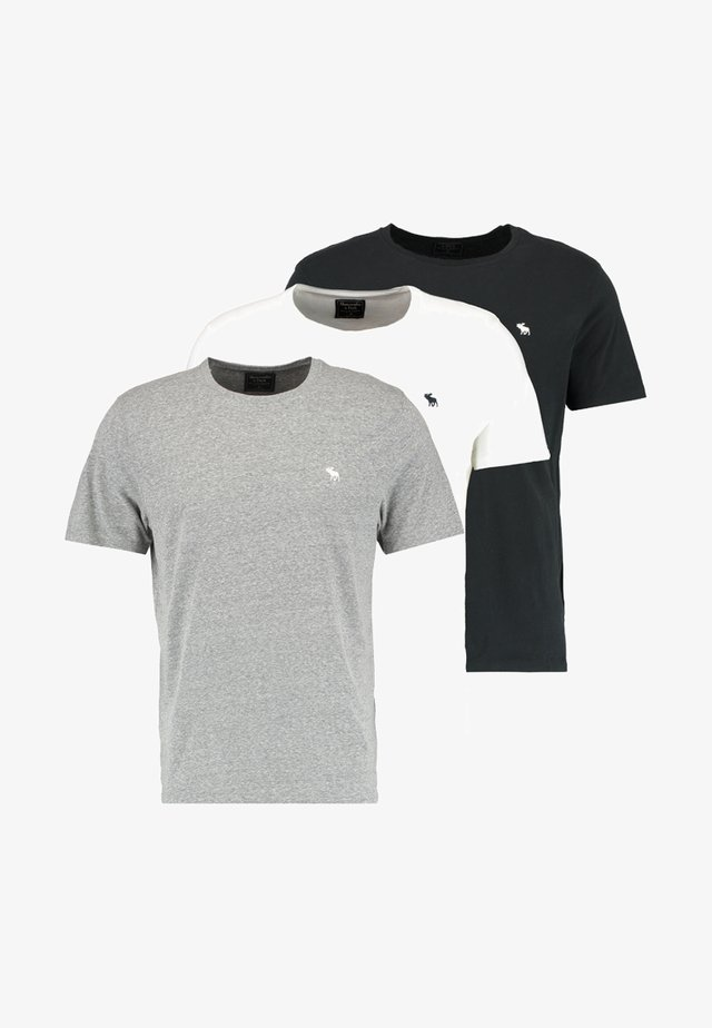 3 PACK - T-shirts - white/grey/black
